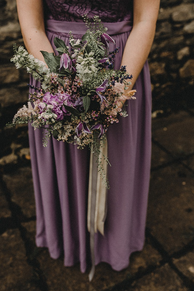 Bridesmaid Bouquet Flowers Ribbon Purple Lilac Woodland Lavender Spring Country Wedding http://www.carlablainphotography.co.uk/