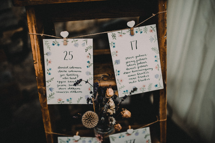 Ladder Seating Plan Woodland Lavender Spring Country Wedding http://www.carlablainphotography.co.uk/