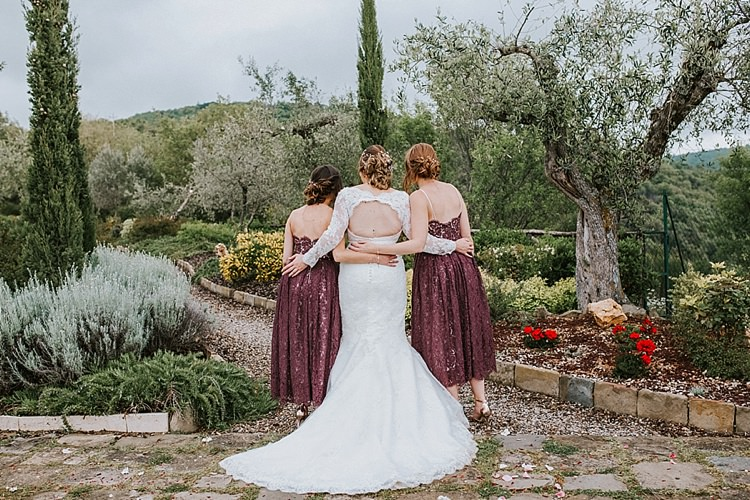 Lace Bridesmaid Dresses Mid Destination Italy Wedding Burgundy http://www.brookrosephotography.co.uk/