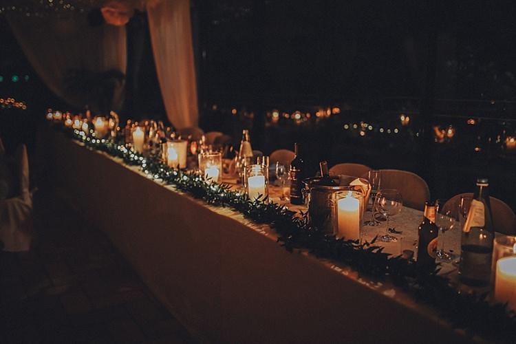 Candles Lighting Table Decor Greenery Destination Italy Wedding Burgundy http://www.brookrosephotography.co.uk/
