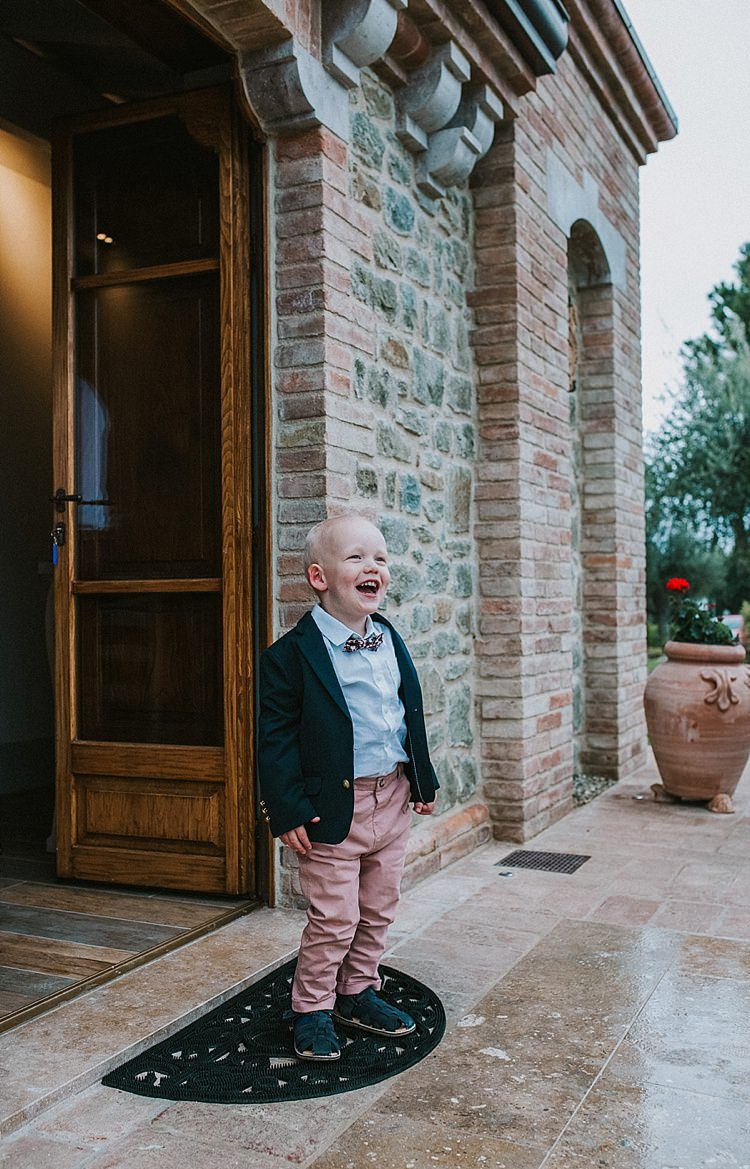 Page Boy Pink Trousers Bow Tie Sandals Destination Italy Wedding Burgundy http://www.brookrosephotography.co.uk/