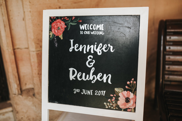 Floral Calligraphy Chalk Board Black Painted Sign Welcome Crafty Fun Budget Friendly Wedding https://www.pearbearphotography.com/