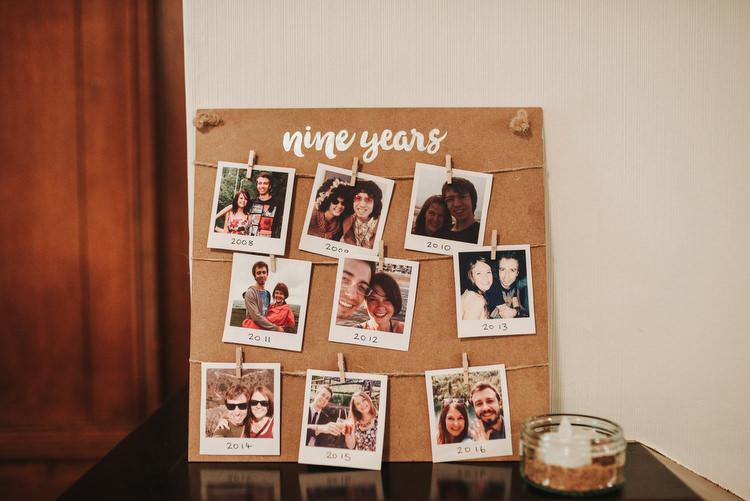 Polariod Photo Board Pegs Twine Crafty Fun Budget Friendly Wedding https://www.pearbearphotography.com/