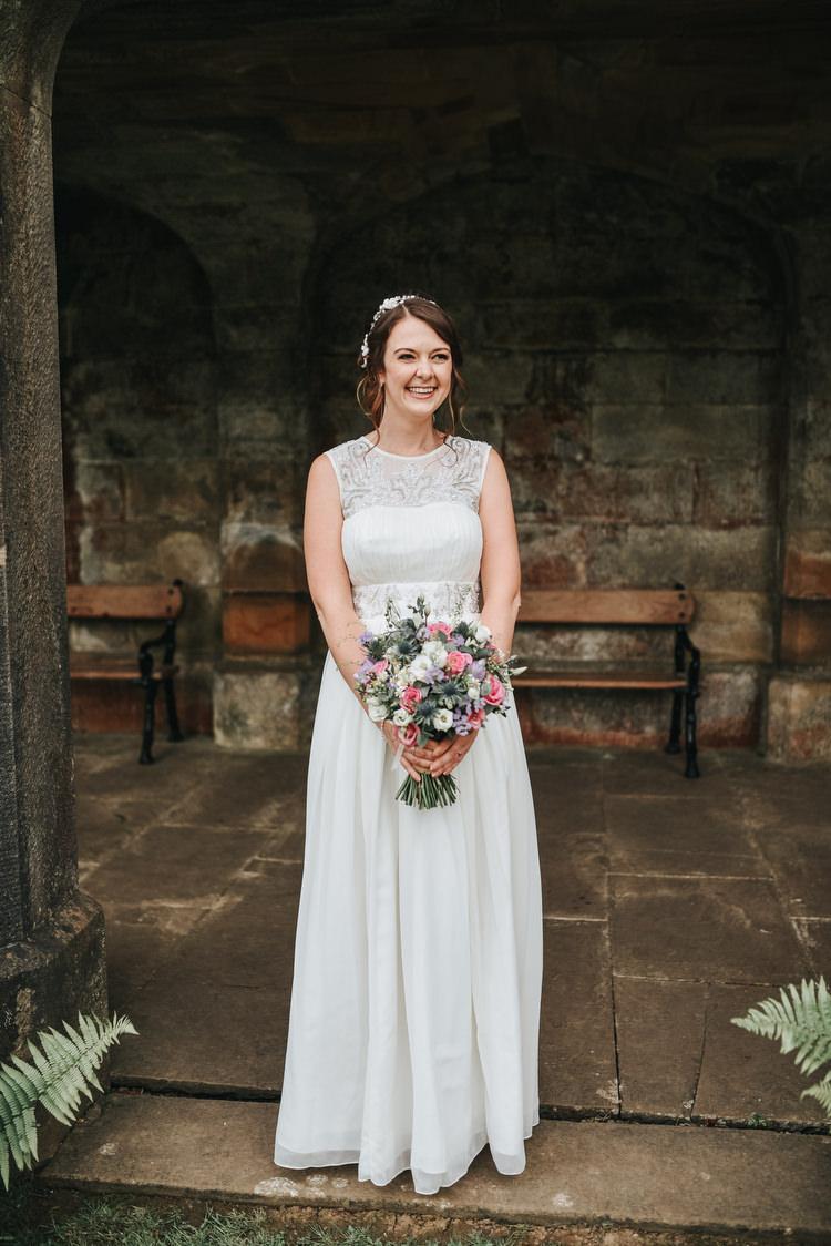Long Flowing Dress High Neckline Bride Bridal Gown Crafty Fun Budget Friendly Wedding https://www.pearbearphotography.com/