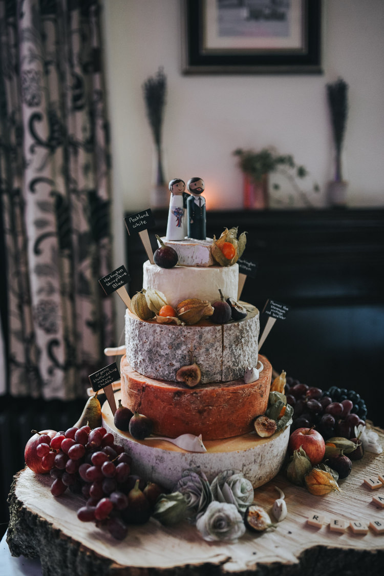 Cheese Tower Cake Log Fruit Topper Crafty Fun Budget Friendly Wedding https://www.pearbearphotography.com/