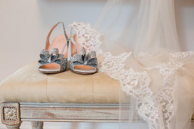 Kate Spade Silver Bow Glitter Shoes Bride Bridal Graceful Walled Garden Wedding http://helenkingphotography.co.uk/