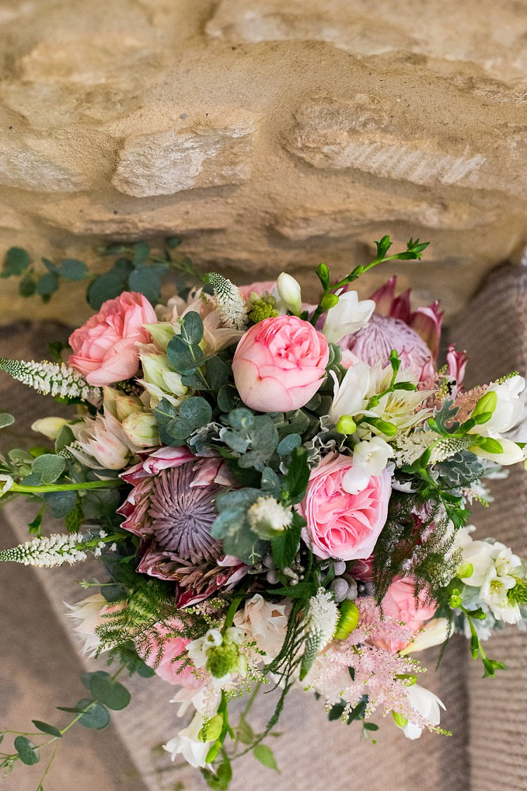 King Protea Blushing Bride Protea Succulents O'hara Rose Astilbe Bride Bridal Bouquet Flowers Pink Graceful Walled Garden Wedding http://helenkingphotography.co.uk/