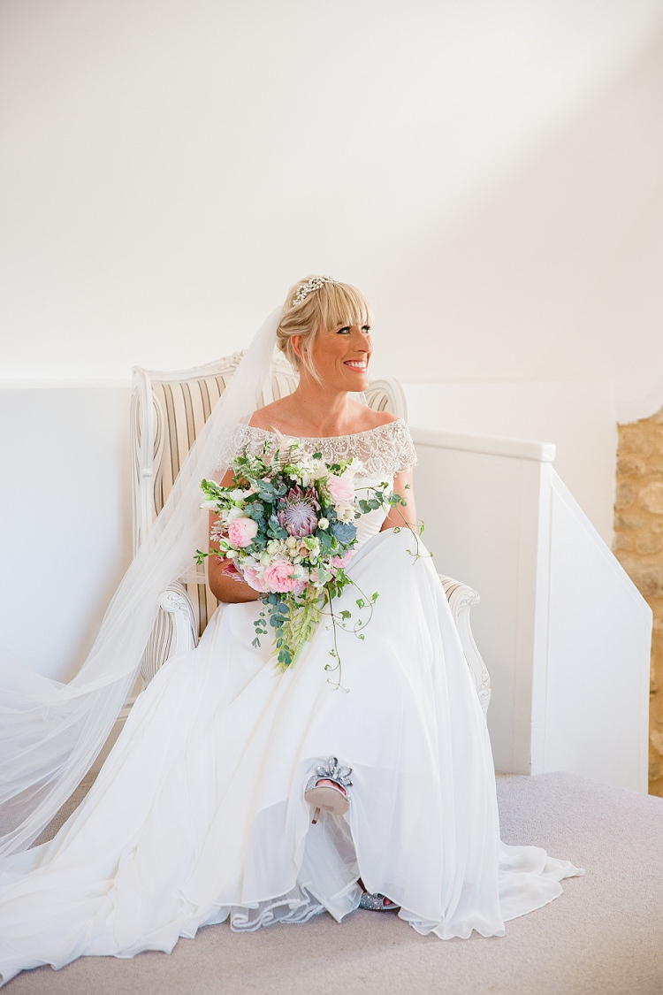 Justin Alexander Gown Dress Beaded Off Shoulder Bardot Veil Graceful Walled Garden Wedding http://helenkingphotography.co.uk/
