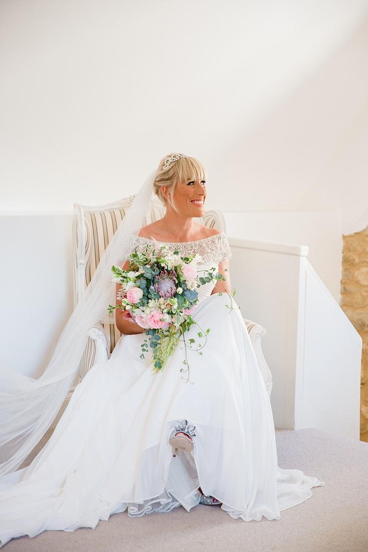 Justin Alexander Gown Dress Beaded Off Shoulder Bardot Veil Graceful Walled Garden Wedding http://helenkingphotography.co.uk/