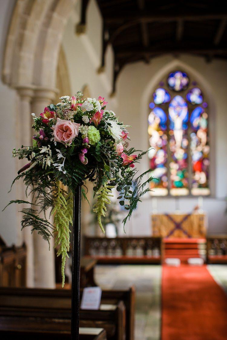 Tall Church Flowers Pew End Green Pink Graceful Walled Garden Wedding http://helenkingphotography.co.uk/