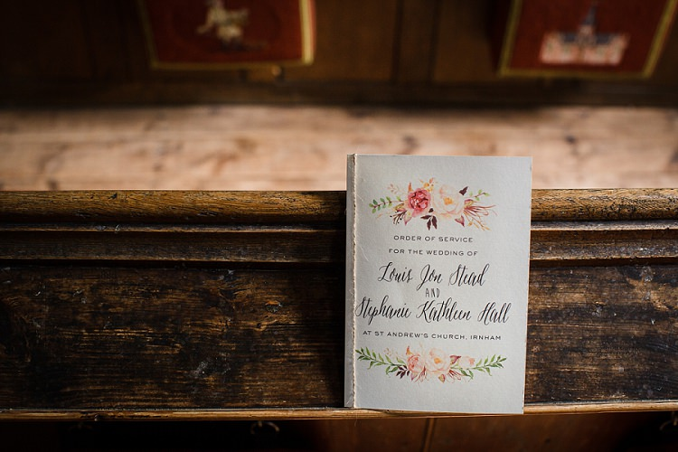 Floral Order Service Stationery Graceful Walled Garden Wedding http://helenkingphotography.co.uk/