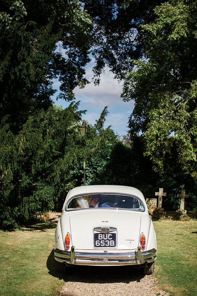 Classic Car Cream Transport Graceful Walled Garden Wedding http://helenkingphotography.co.uk/