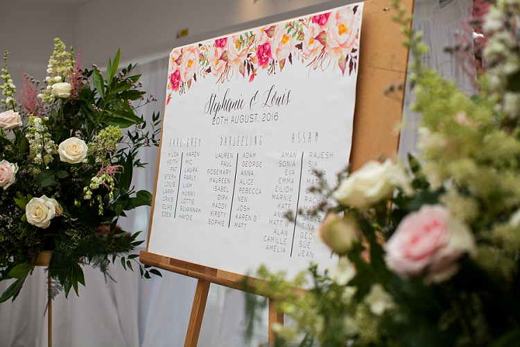 Floral Illustrated Seating Plan Table Chart Graceful Walled Garden Wedding http://helenkingphotography.co.uk/