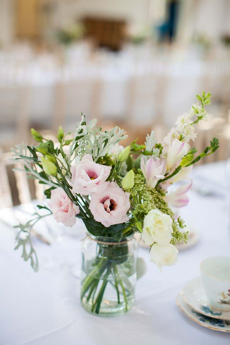 Jar Flowers Pink Green Graceful Walled Garden Wedding http://helenkingphotography.co.uk/