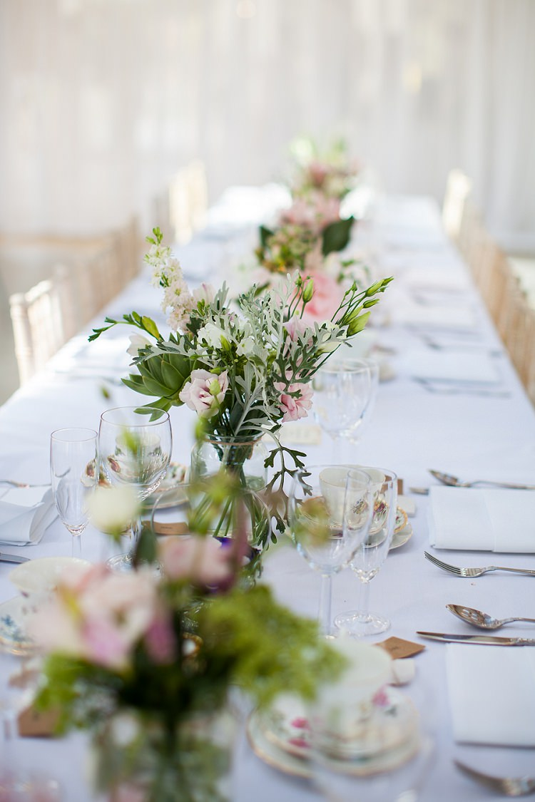 Jar Flowers Table Centrepiece Pink Green Cream Graceful Walled Garden Wedding http://helenkingphotography.co.uk/