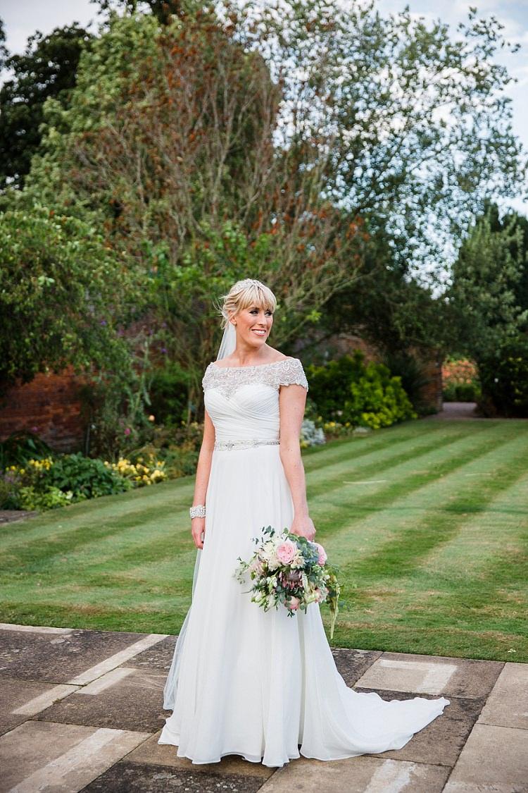 Off Shoulder Bardot Dress Bride Bridal Beaded Gown Justin Alexander Graceful Walled Garden Wedding http://helenkingphotography.co.uk/