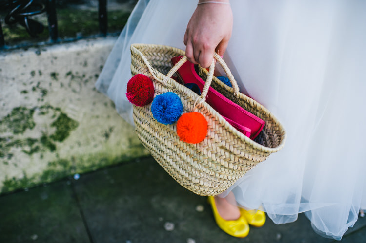 Pom Pom Basket Bag Bride Bridal Alternative Home Made Colourful Wedding http://allisondeweyphotography.co.uk/