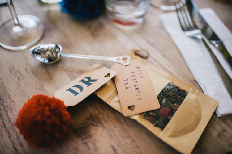 Pompom Place Setting Luggage Tag Tea Favours Alternative Home Made Colourful Wedding http://allisondeweyphotography.co.uk/
