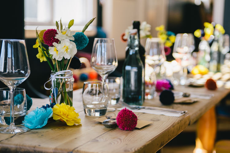 Pompom Flowers Jar Decor Table Alternative Home Made Colourful Wedding http://allisondeweyphotography.co.uk/