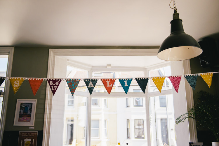 Personalised Bunting Alternative Home Made Colourful Wedding http://allisondeweyphotography.co.uk/