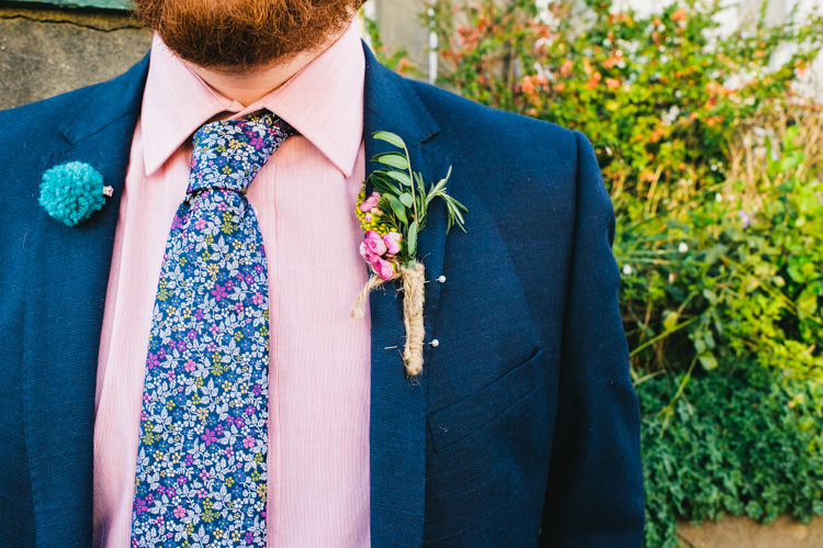 Floral Tie Groom Buttonhole Pompom Badge Alternative Home Made Colourful Wedding http://allisondeweyphotography.co.uk/