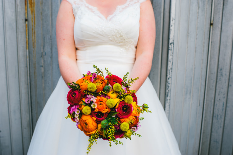 Flowers Bouquet Ranunculus Craspedia Eucalyptus Wax Flowers Astrantia Roma Yellow Orange Pink Bride Bridal Alternative Home Made Colourful Wedding http://allisondeweyphotography.co.uk/