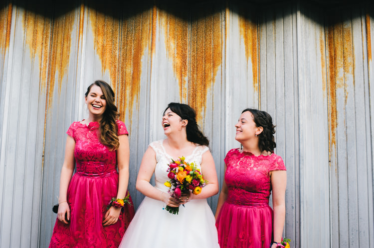 Pink Lace Bridesmaid Dresses Alternative Home Made Colourful Wedding http://allisondeweyphotography.co.uk/