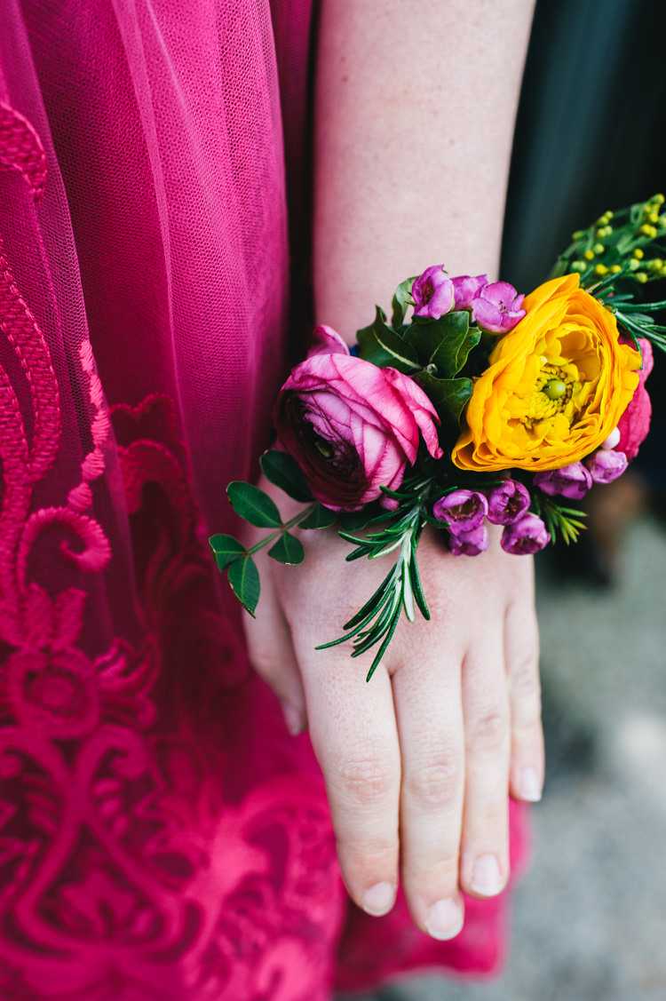 Wrist Corsage Bridesmaid Flowers Ranunculus Craspedia Eucalyptus Wax Flowers Astrantia Roma Yellow Orange Pink Alternative Home Made Colourful Wedding http://allisondeweyphotography.co.uk/