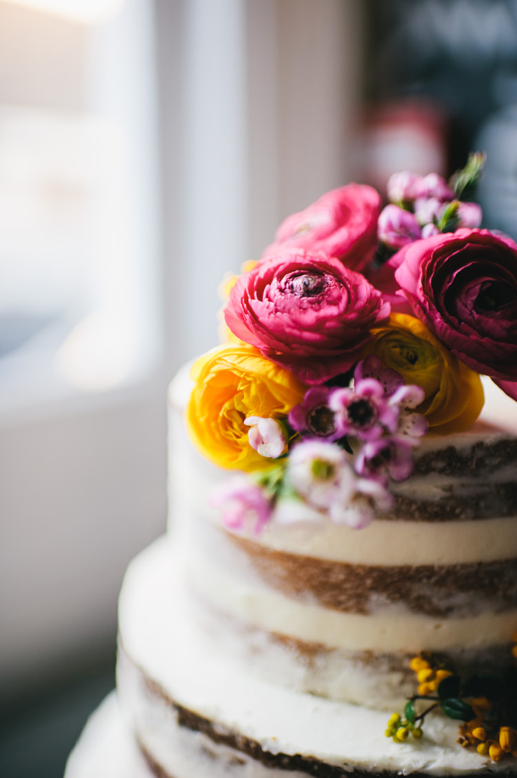 Naked Cake Icing Sponge Layer Alternative Home Made Colourful Wedding http://allisondeweyphotography.co.uk/