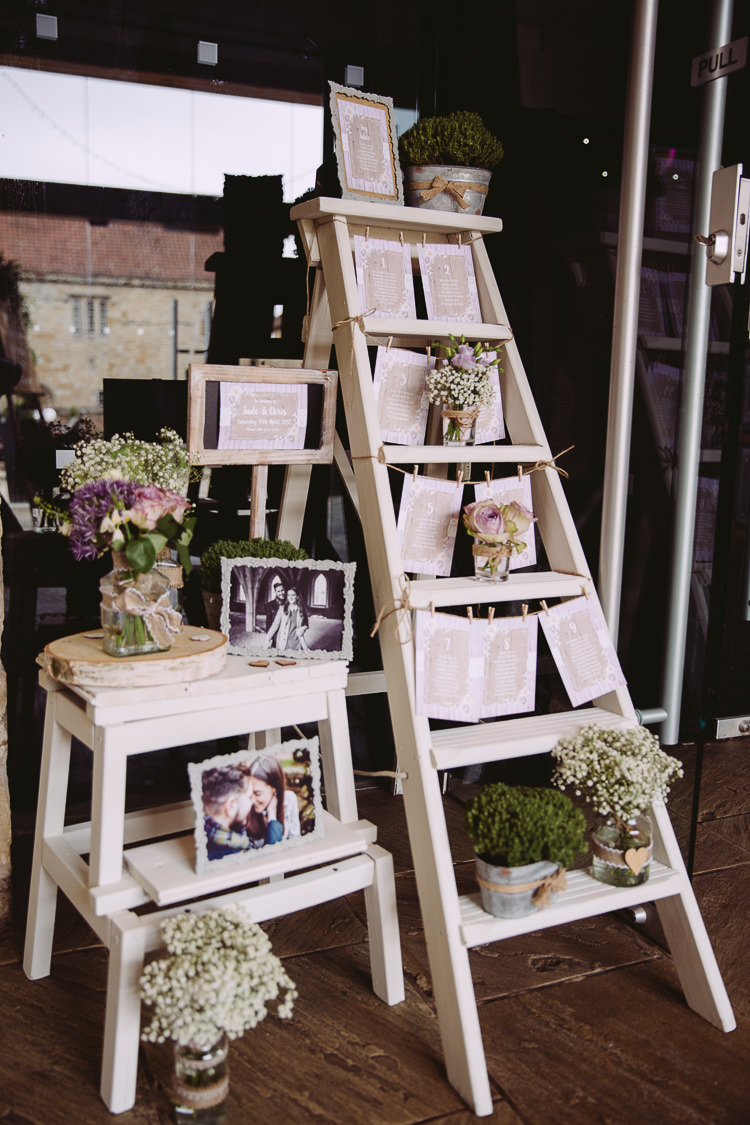 Ladder Pot Plants Tin Seating Plan Table Chart Romantic Soft Pastel Pretty Wedding http://hayleybaxterphotography.com/