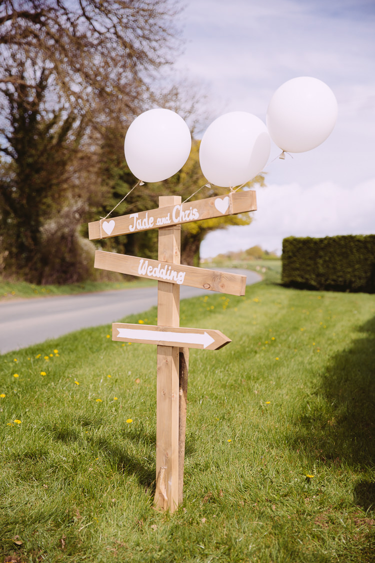 Wooden Sign Post Balloons Romantic Soft Pastel Pretty Wedding http://hayleybaxterphotography.com/
