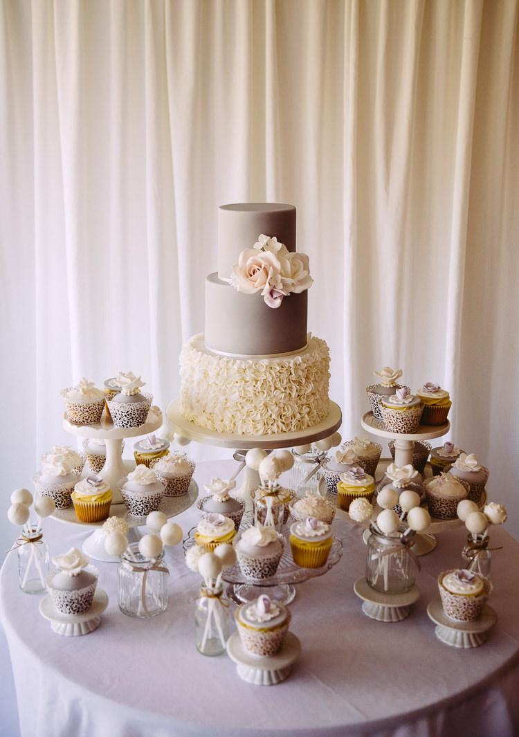 Cake Table Grey Cream Ruffle Lace Tier Cupcakes Cakepops Romantic Soft Pastel Pretty Wedding http://hayleybaxterphotography.com/