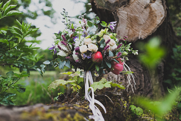 Bouquet Flowers Bride Bridal Peony Rose Ribbon Enchanting Free-Spirited Outdoor Wedding http://www.johnelphinstonestirling.com/