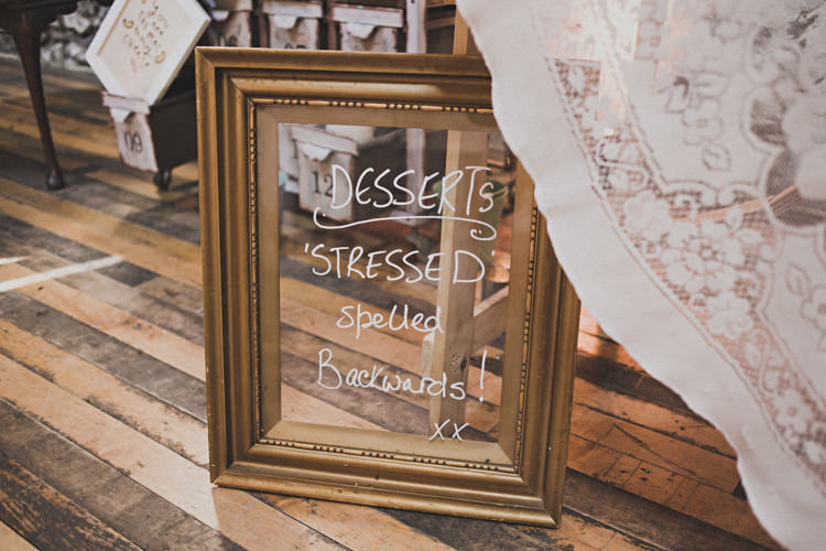Dessert Pudding Sign Mirror Enchanting Free-Spirited Outdoor Wedding http://www.johnelphinstonestirling.com/