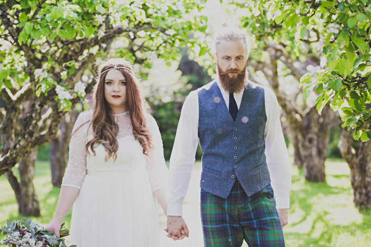 Groom Blue Waistcoat Tartan Trousers Attire Outfit Enchanting Free-Spirited Outdoor Wedding http://www.johnelphinstonestirling.com/