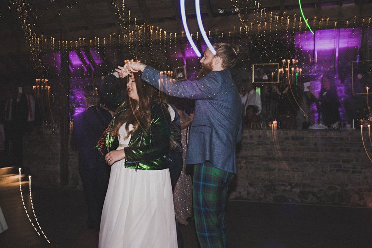 Green Sequin Jacket Bride Bridal Enchanting Free-Spirited Outdoor Wedding http://www.johnelphinstonestirling.com/