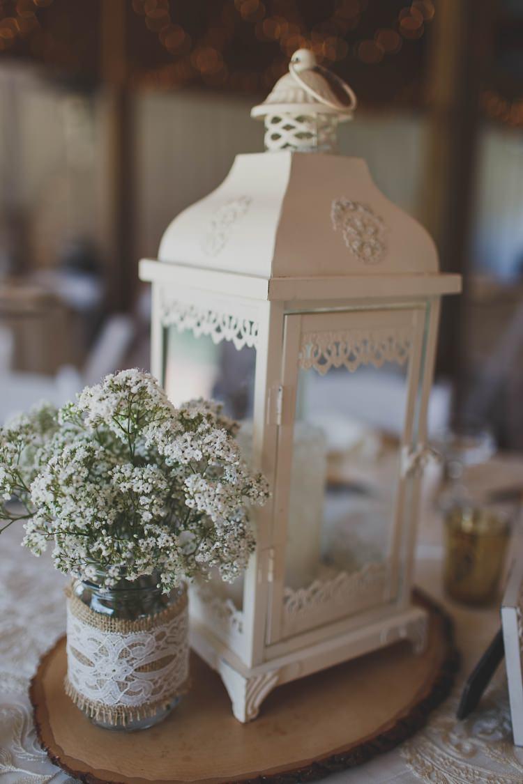 Lantern Table Decoration Rustic Glam Twinkling Ranch Wedding Florida https://www.stacypaulphotography.com/