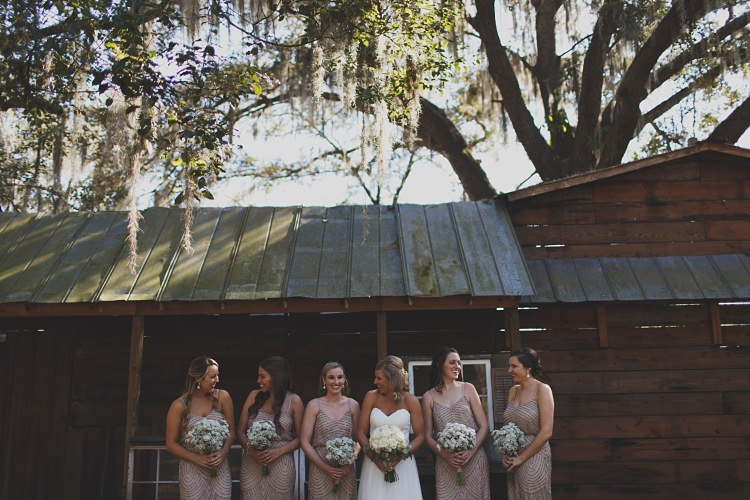 Bride Bridesmaids Laughter Glam Twinkling Ranch Wedding Florida https://www.stacypaulphotography.com/