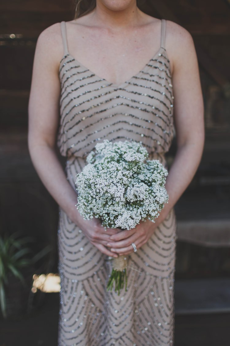 Bridesmaid Dress Sparkle Sequins Baby's Breath Bouquet Glam Twinkling Ranch Wedding Florida https://www.stacypaulphotography.com/