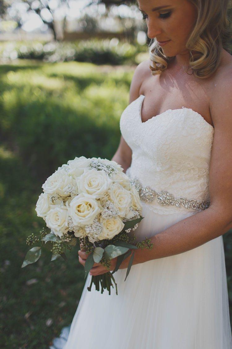 Bride Dress Bouquet Roses Glam Twinkling Ranch Wedding Florida https://www.stacypaulphotography.com/