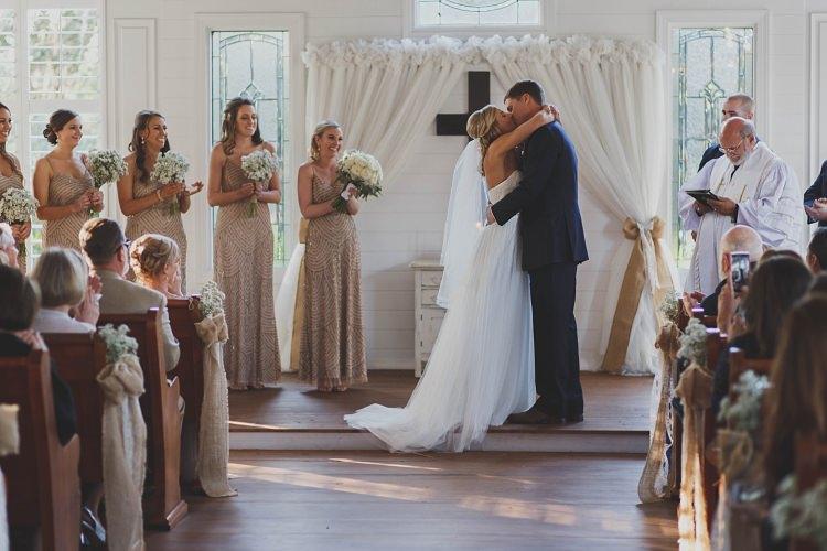 Bride Groom Kiss Ceremony Glam Twinkling Ranch Wedding Florida https://www.stacypaulphotography.com/