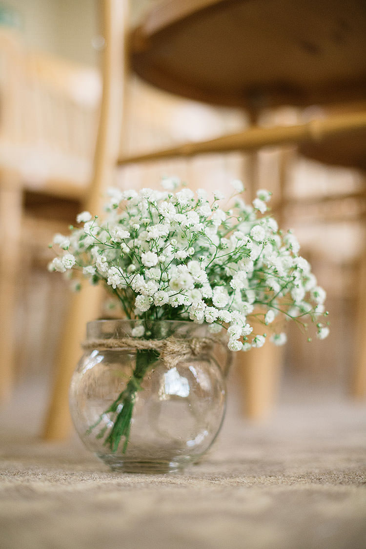 Jar Vase Flowers Gyp Gypsophila Baby Breath Charming Natural Countryside Tipi Wedding http://www.pauljosephphotography.co.uk/