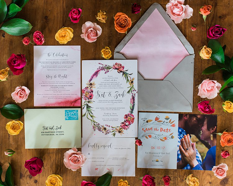 Stationery Roses Invitations Save the Dates Colourful Bohemian Barn Wedding Pennsylvania http://www.dawn-derbyshire.com/