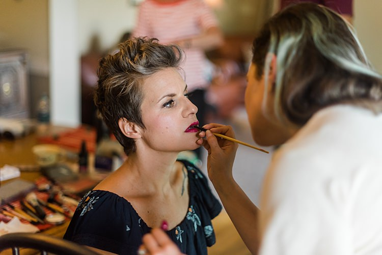 Bride Makeup Getting Ready Colourful Bohemian Barn Wedding Pennsylvania http://www.dawn-derbyshire.com/
