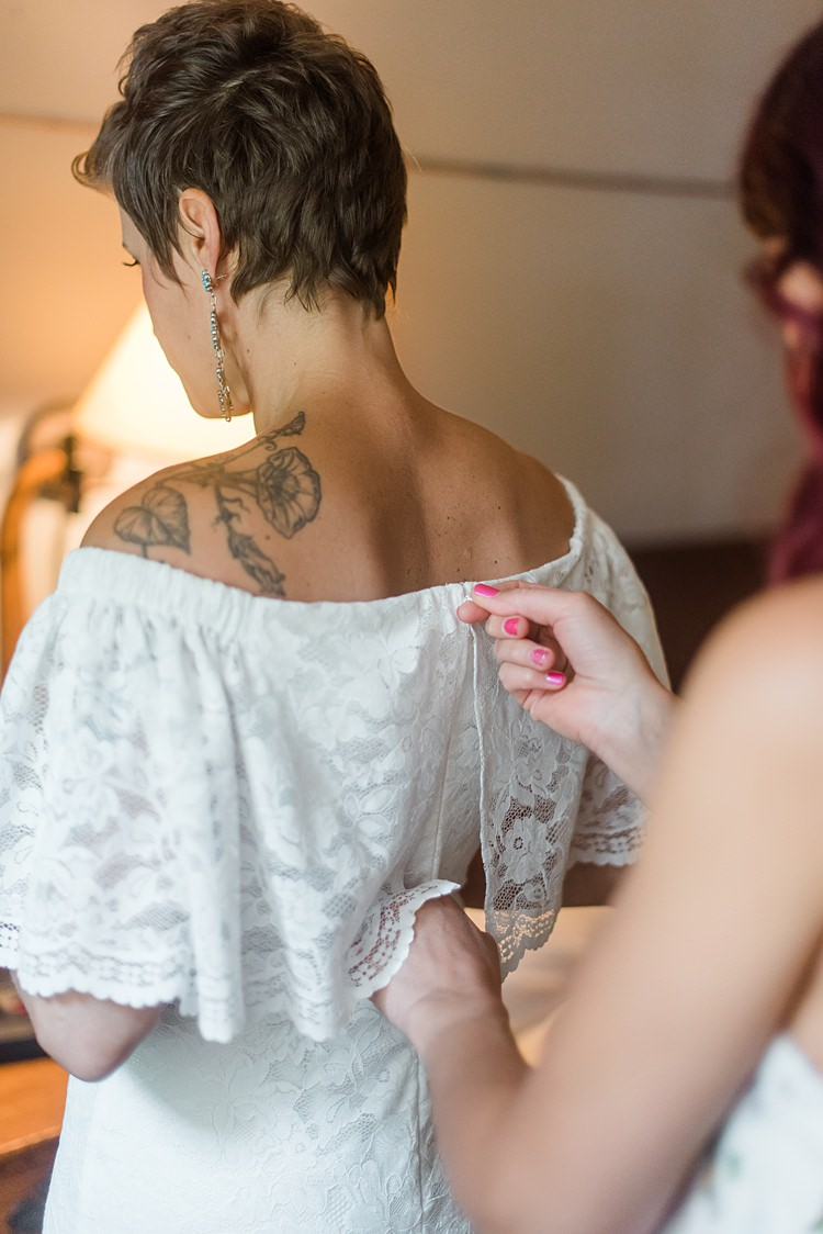 Bride Getting Ready Dress Tattoos Colourful Bohemian Barn Wedding Pennsylvania http://www.dawn-derbyshire.com/