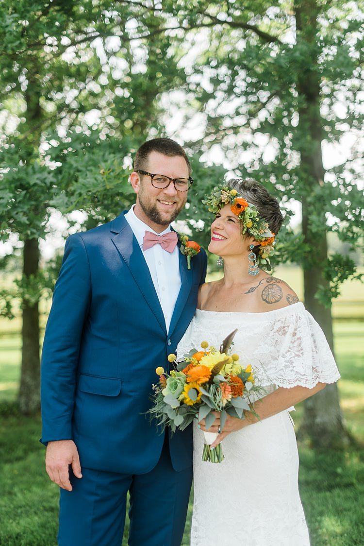 Bride Groom Smiling Colourful Bohemian Barn Wedding Pennsylvania http://www.dawn-derbyshire.com/