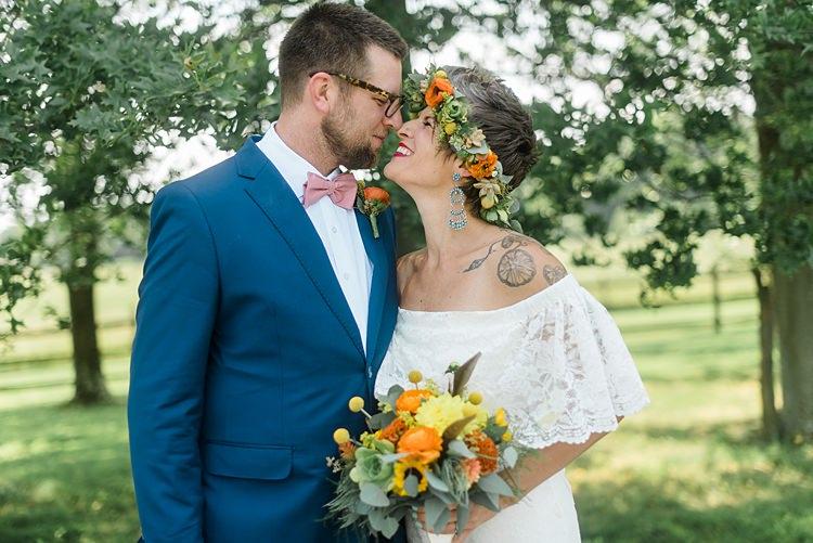 Bride Groom Noses Touching Colourful Bohemian Barn Wedding Pennsylvania http://www.dawn-derbyshire.com/