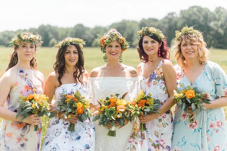 Bride Bridesmaid Mismatched Dresses Colourful Bohemian Barn Wedding Pennsylvania http://www.dawn-derbyshire.com/