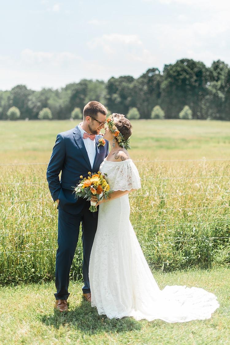 Bride Groom Close Landscape Colourful Bohemian Barn Wedding Pennsylvania http://www.dawn-derbyshire.com/
