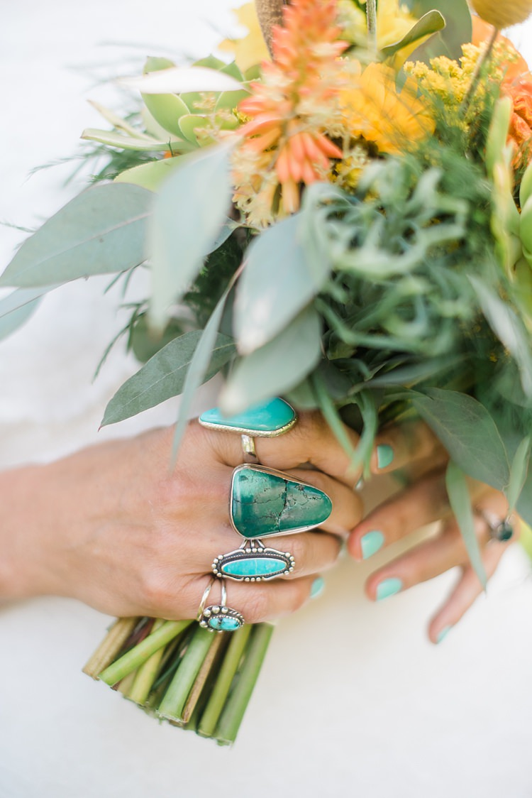 Bride Bouquet Turquoise Rings Colourful Bohemian Barn Wedding Pennsylvania http://www.dawn-derbyshire.com/